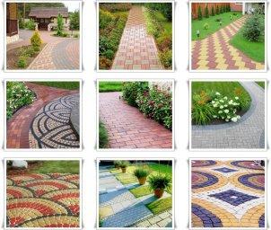 Варианты дизайнерских решений из тротуарной плитки